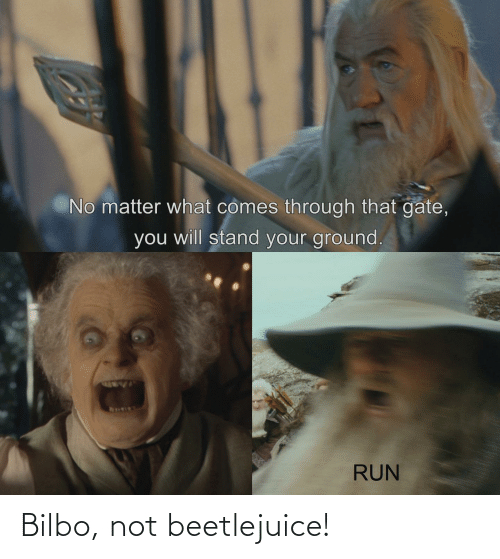 Beetlejuice: No matter what comes through that gate,  you will stand your ground.  RUN Bilbo, not beetlejuice!