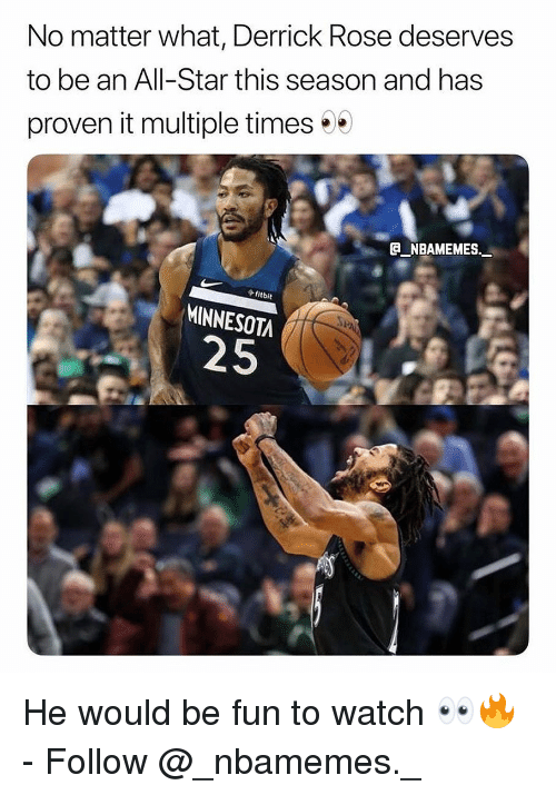 All Star, Derrick Rose, and Memes: No matter what, Derrick Rose deserves  to be an All-Star this season and has  proven it multiple times  fitbit  MINNESOTA  25 He would be fun to watch 👀🔥 - Follow @_nbamemes._