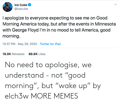 "Good Morning: No need to apologise, we understand - not ""good morning"", but ""wake up"" by elch3w MORE MEMES"