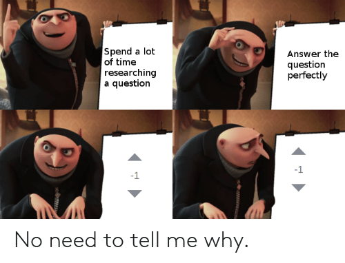 tell me: No need to tell me why.