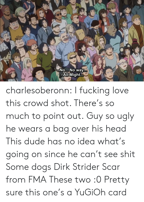 Dogs, Dude, and Fucking: -No... No way  --All Might.. charlesoberonn: I fucking love this crowd shot. There's so much to point out. Guy so ugly he wears a bag over his head This dude has no idea what's going on since he can't see shit Some dogs Dirk Strider Scar from FMA These two :0 Pretty sure this one's a YuGiOh card