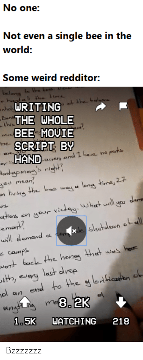 Hona: No one:  Not even a single bee in the  world:  Some weird redditor:  bet  hda the  ehal WRITING  he bulgp  THE WHOLE  this  BEE MOVIE  ne SCRIPT BY  HANDUand 1 hae no pert  wrer  er ls  Mortupmenj's right  mean  nliv ing the bee way a leng time, 27  rt  atons  en your victoy. what ll yas ders  emant?  de shutdoun otalL  ll demand  camps  wot bace the hona that was ho  t, evary last drop  end to the g lo1icaten of  ol  an  1.5K  WATCHING  218 Bzzzzzzz