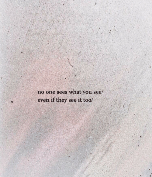 One, They, and You: no one sees what you see/  even if they see it too