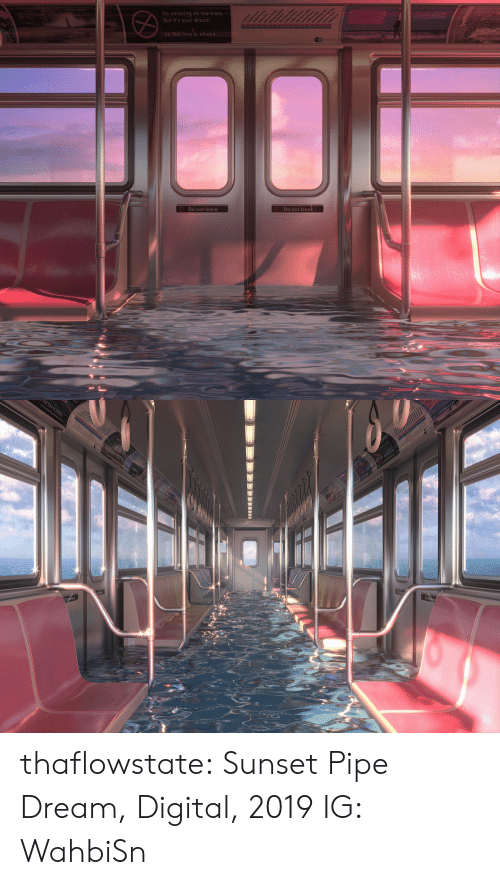 Pipe: No smoking on the train.  But it's your dream,  aean  So feel free to smoke.  Do not leave  Do not leave   t free to sm thaflowstate:   Sunset Pipe Dream, Digital, 2019    IG: WahbiSn