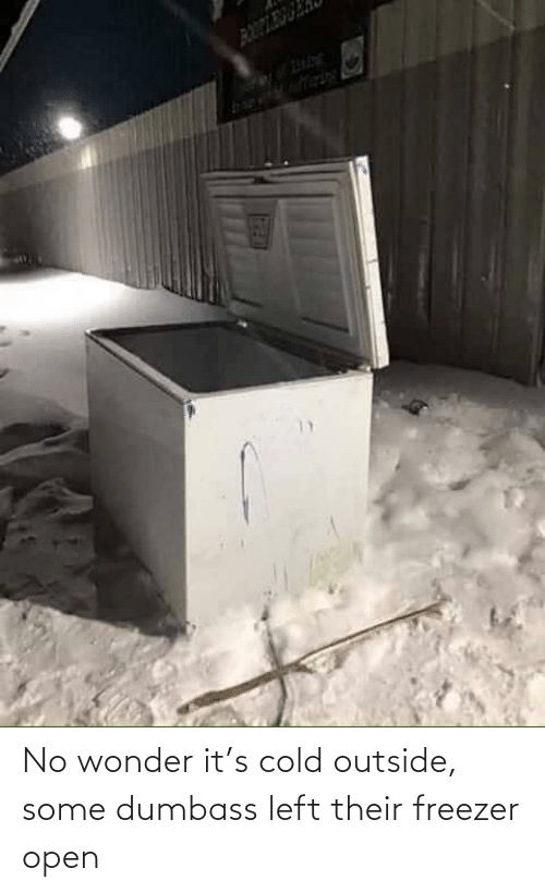 Cold, Wonder, and Open: No wonder it's cold outside, some dumbass left their freezer open