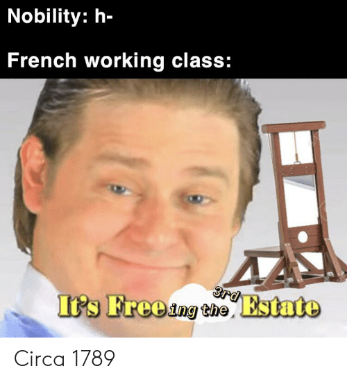 Free, History, and French: Nobility: h-  French working class:  3rd  I's Free ing the Estate Circa 1789