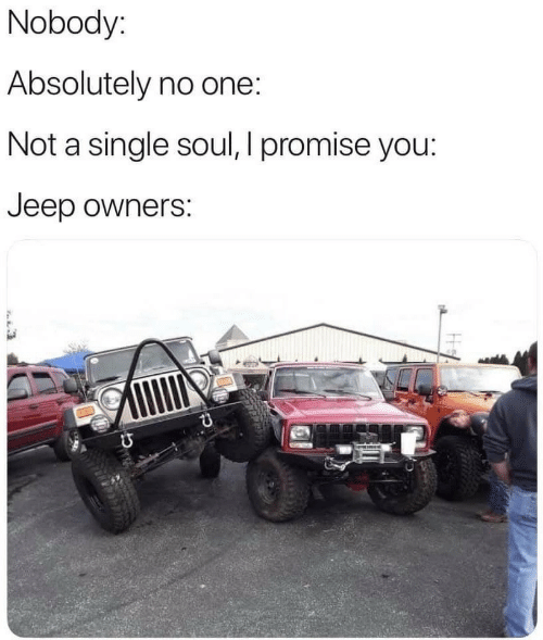 Jeep, Single, and Soul: Nobody:  Absolutely no one:  Not a single soul, I promise you:  Jeep owners: