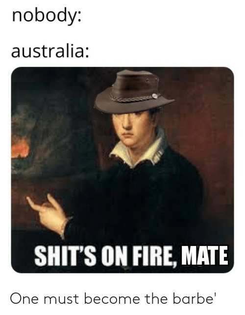 Become: nobody:  australia:  SHIT'S ON FIRE, MATE One must become the barbe'