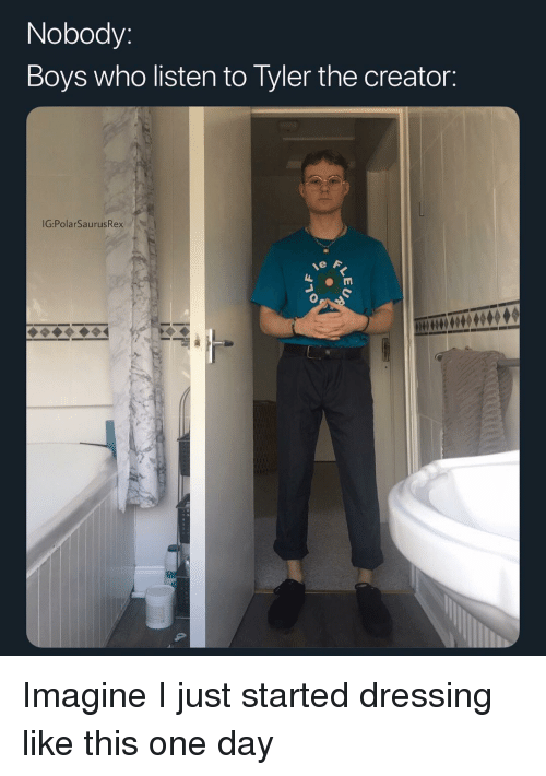 Memes, Tyler the Creator, and Boys: Nobody:  Boys who listen to Tyler the creator:  IG:PolarSaurusRex Imagine I just started dressing like this one day