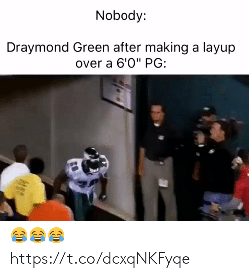 "ballmemes.com: Nobody:  Draymond Green after making a layup  over a 6'0"" PG: 😂😂😂 https://t.co/dcxqNKFyqe"
