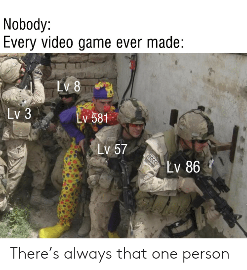 Game, Video, and Video Game: Nobody:  Every video game ever made  LV 8  Lv 3  Lv 581  Lv 57  Lv 86  TCCC There's always that one person