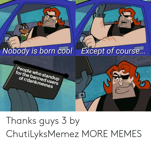 R Dankmemes: Nobody is born coolExcept of course...  People who standup  for the banned users  of r/dankmemes Thanks guys 3 by ChutiLyksMemez MORE MEMES