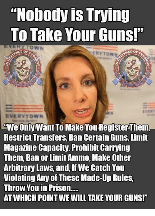 """Guns, Memes, and Prison: """"Nobody is Trying  To Take Your Guns!""""  ERYTOWN  EVERYTOWN  """"We Only Want To Make You Register Them,  Restrict Transfers, Ban Certain Guns, Limit  Magazine Capacity, Prohibit Carrying  Them, Ban or Limit Ammo, Make Other  Arbitrary Laws, and, If We Catch You  Violating Any of These Made-Up Rules,  Throw You in Prison....  AT WHICH POINT WE WILL TAKE YOUR GUNS!"""""""