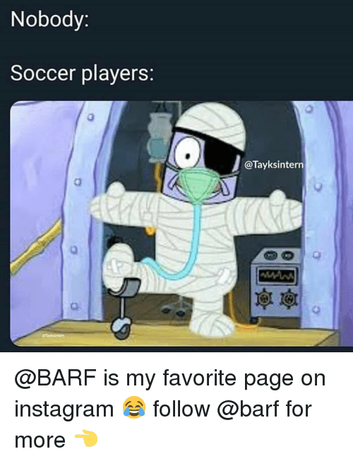 Instagram, Memes, and Soccer: Nobody:  Soccer players:  @Tayksintern  0  O. @BARF is my favorite page on instagram 😂 follow @barf for more 👈