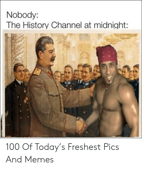 Memes, History, and Today: Nobody:  The History Channel at midnight: 100 Of Today's Freshest Pics And Memes