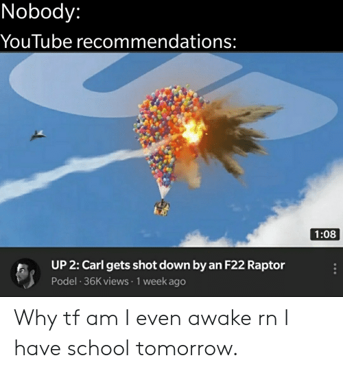 raptor: Nobody:  YouTube recommendations:  1:08  UP 2: Carl gets shot down by an F22 Raptor  Podel 36K views 1 week ago Why tf am I even awake rn I have school tomorrow.