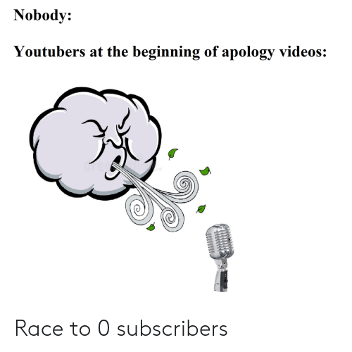 Videos, Race, and Apology: Nobody:  Youtubers at the beginning of apology videos: Race to 0 subscribers