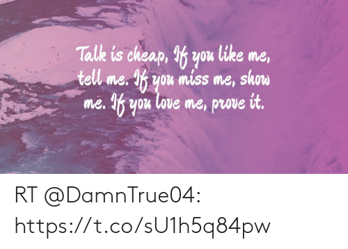 Love, Memes, and 🤖: nok  tell me. If you miss me, show  me. If you love me, prove it.  Tale is cheap, If you like me, RT @DamnTrue04: https://t.co/sU1h5q84pw