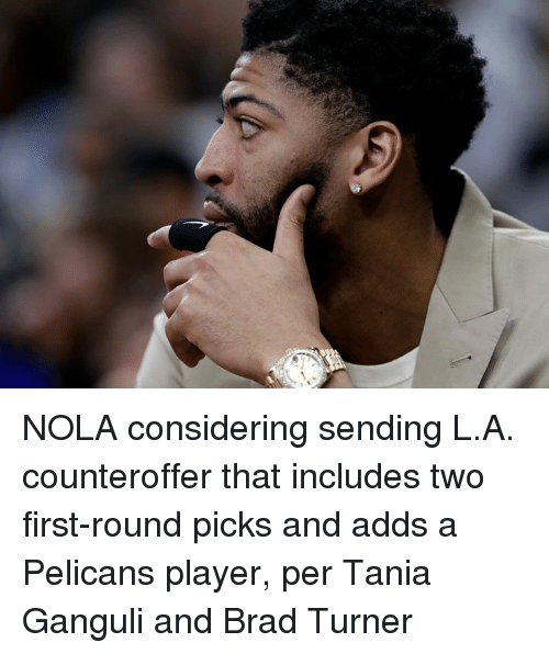 Player, First, and Nola: NOLA considering sending L.A. counteroffer that includes two first-round picks and adds a Pelicans player, per Tania Ganguli and Brad Turner