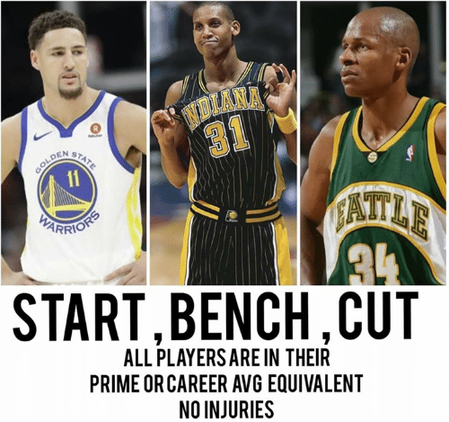 Avg, All, and Bench: NOLANA  31  GOLDEN  11  STATE  AATLE  PARRIONS  START,BENCH,CUT  ALL PLAYERS ARE IN THEIR  PRIME OR CAREER AVG EQUIVALENT  NO INJURIES