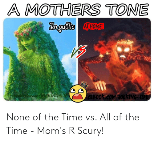 none: None of the Time vs. All of the Time - Mom's R Scury!