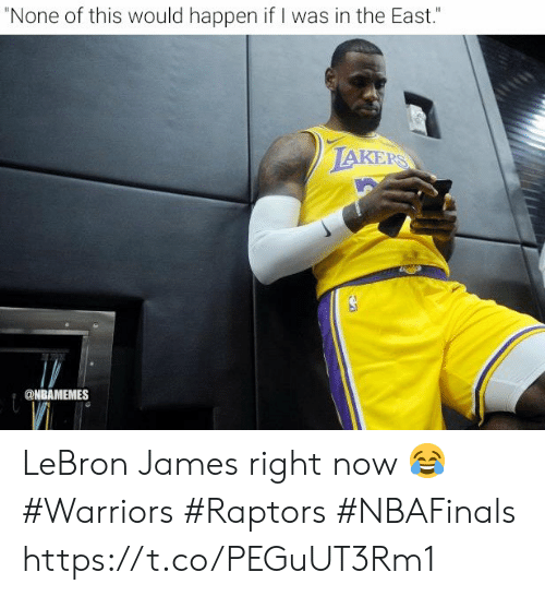 "Nbamemes: ""None of this would happen if I was in the East.""  LAKERS  @NBAMEMES LeBron James right now 😂  #Warriors #Raptors #NBAFinals https://t.co/PEGuUT3Rm1"