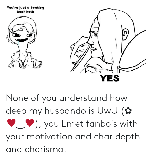 Husbando: None of you understand how deep my husbando is UwU (✿ ♥‿♥), you Emet fanbois with your motivation and char depth and charisma.