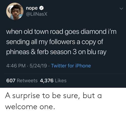 Iphone, Twitter, and Diamond: nope  @LİINaSX  when old town road goes diamond i'm  sending all my followers a copy of  phineas & ferb season 3 on blu ray  4:46 PM 5/24/19 Twitter for iPhone  607 Retweets 4,376 Likes A surprise to be sure, but a welcome one.