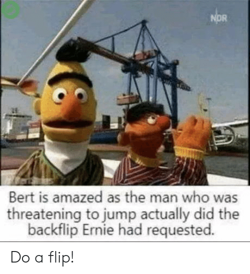the man: NOR  Bert is amazed as the man who was  threatening to jump actually did the  backflip Ernie had requested. Do a flip!