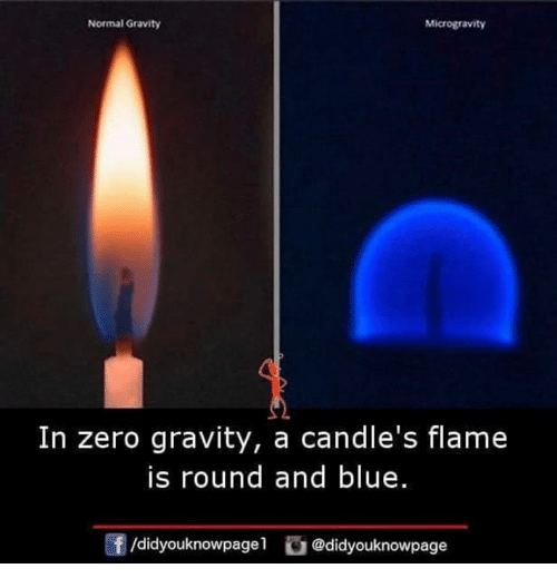 Memes, Zero, and Blue: Normal Gravity  Microgravity  In zero gravity, a candle's flame  is round and blue.  f/didyouknowpagel @didyouknowpage