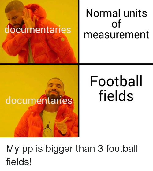 measurement: Normal units  of  measurement  documentaries  Footbal  fields  documentaries My pp is bigger than 3 football fields!