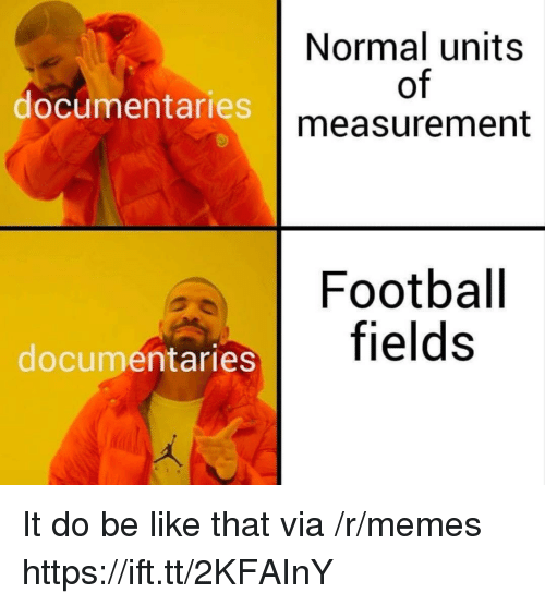 measurement: Normal units  of  measurement  documentaries  Football  documentaries It do be like that via /r/memes https://ift.tt/2KFAInY