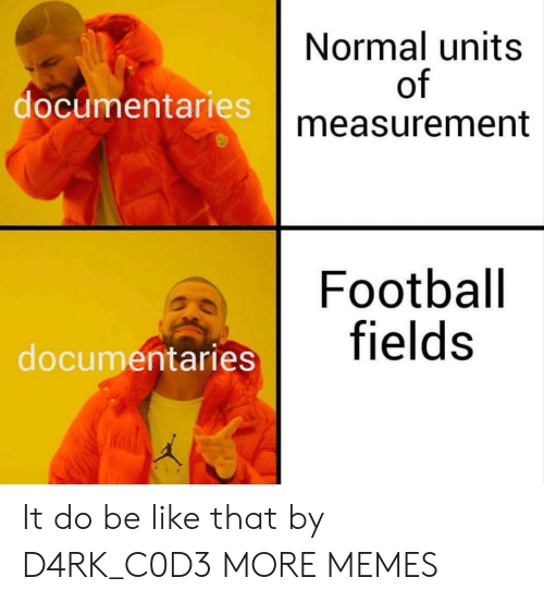 measurement: Normal units  of  measurement  documentaries  Football  entaries fields It do be like that by D4RK_C0D3 MORE MEMES