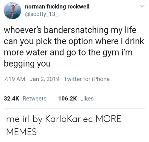 Dank, Fucking, and Gym: norman fucking rockwell  @scotty 13  SC  whoever's bandersnatching my life  can you pick the option where i drink  more water and go to the gym i'm  begging you  7:19 AM-Jan 2, 2019 Twitter for iPhone  32.4KRetweets 106.2K Likes me irl by KarloKarlec MORE MEMES