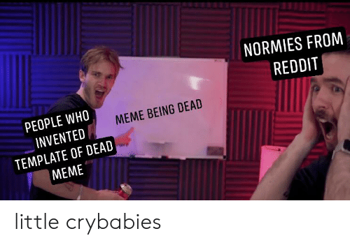 Who Meme: NORMIES FROM  REDDIT  PEOPLE WHO  MEME BEING DEAD  INVENTED  TEMPLATE OF DEAD  MEME little crybabies