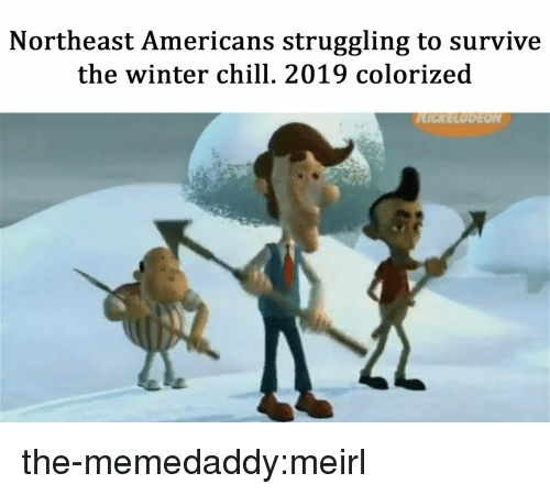 Chill, Tumblr, and Winter: Northeast Americans struggling to survive  the winter chill. 2019 colorized the-memedaddy:meirl