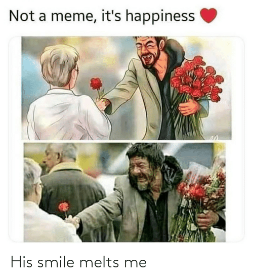 Meme, Smile, and Happiness: Not a meme, it's happiness His smile melts me