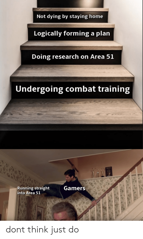 combat training: Not dying by staying home  Logically forming a plan  Doing research on Area 51  Undergoing combat training  Gamers  Running straight  into Area 51 dont think just do