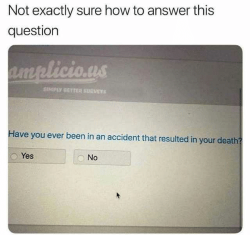 Memes, Death, and How To: Not exactly sure how to answer this  question  SIMPLY SETTER SURVEY  Have you ever been in an accident that resulted in your death  Yes  No