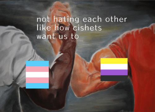 How, Like, and Each Other: not hating each other  like how cishets  want us to