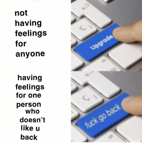 Back, Who, and One: not  having  feelings  for  anyone  having  feelings  for one  person  who  doesn't  like u  back