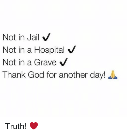 Jail, Memes, and Hospital: Not in Jail  V  Not in a Hospital V  Not in a Grave  V  Thank God for another day! Truth! ❤️