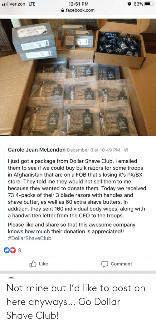 anyways: Not mine but I'd like to post on here anyways… Go Dollar Shave Club!