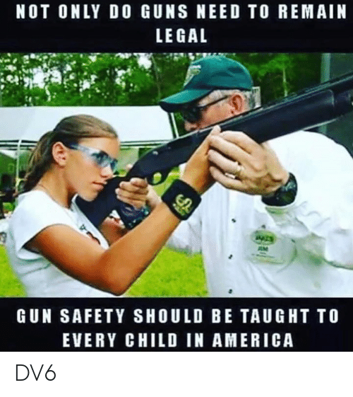 America, Guns, and Memes: NOT ONLY DO GUNS NEED TO REMAIN  LE GAL  GUN SAFETY SHOULD BE TAUGHT TO  EVERY CHILD IN AMERICA DV6