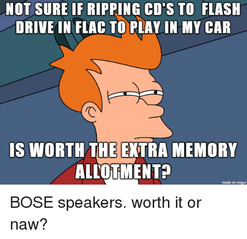 Drive, Imgur, and Flash: NOT SURE IF RIPPING CD'S TO FLASH  DRIVE IN FLAC TO PLAVIN MY CAR  IS WORTH THE EXTRA MEMORY  ALLOTMENT?  made on imgur BOSE speakers. worth it or naw?