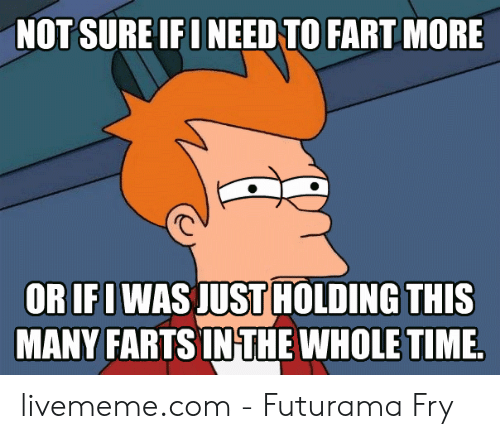 Holding In Fart Meme: NOT SURE IFI NEED TO FART MORE  ORIFI WAS JUST HOLDING THIS  MANY FARTS IN THE WHOLE TIME. livememe.com - Futurama Fry