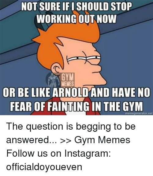 Net, Questions, and Mems: NOT SURE IFISHOULD STOP  WORKING OUT NOW  GYM  MENES  OR BE LIKE ARNO  HAVE NO  FEAR OF FAINTING IN THE GYM  mem egentrator net The question is begging to be answered...  >> Gym Memes  Follow us on Instagram: officialdoyoueven