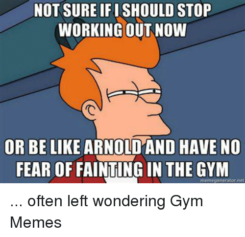 Be Like, Gym, and Meme: NOT SURE IFISHOULD STOP  WORKING OUT NOW  OR BE LIKE ARNO  HAVE NO  FEAR OF FAINTINGIN THE GYM  meme generator net ... often left wondering  Gym Memes