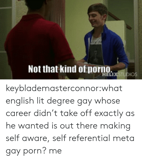 Gay Porn: Not that kind otnorno keyblademasterconnor:what english lit degree gay whose career didn't take off exactly as he wanted is out there making self aware, self referential meta gay porn? me