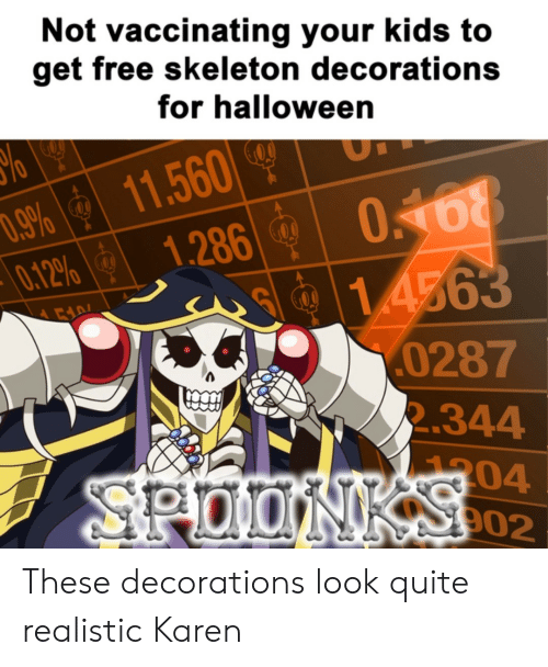 Halloween, Free, and Kids: Not vaccinating your kids to  get free skeleton decorations  for halloween  11.560  1.286  .9%  0.12%  0168  1.4563  0287  2.344  00  304  902  SPOONKSCO2 These decorations look quite realistic Karen